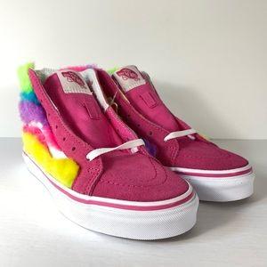 Vans Sk8-Hi Zip Rainbow Fur Carmine Rose Sneakers